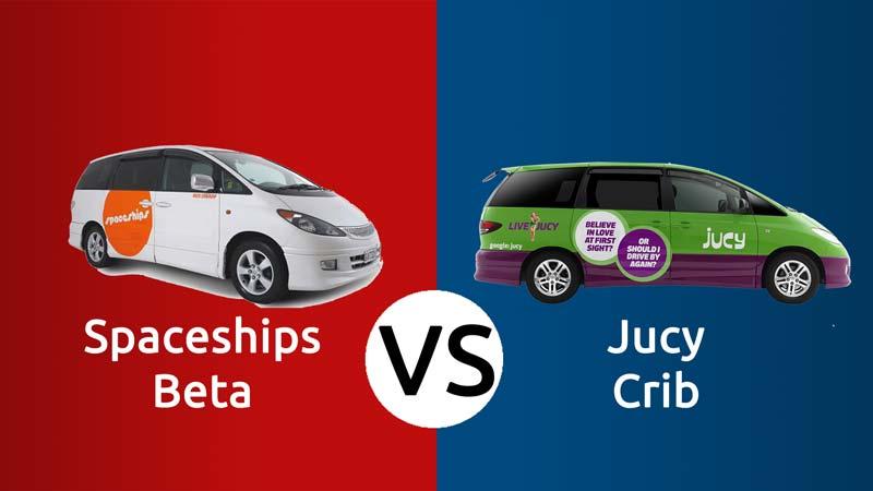 Spaceships Beta campervan VS Jucy Crib campervan