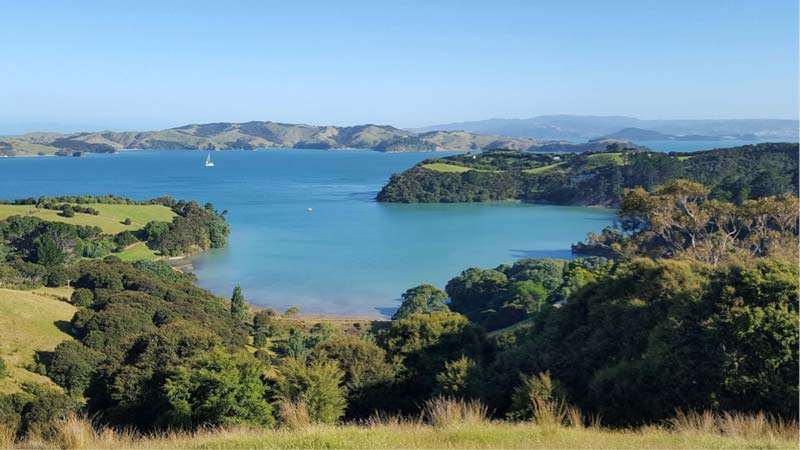 Waiheke Island New Zealand with oceans view for the campervan window