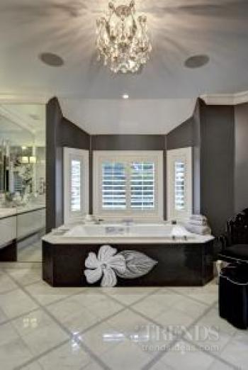 A mosaic-tiled bathroom with a floaral theme by Brian Z Allen