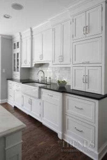 White kitchen with granite and marble countertops and for Subway tile splashback