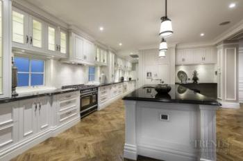 Traditional White Kitchen With Black Granite Benchtops Display Cabinets