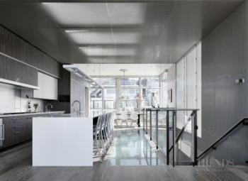 Contemporary loft-style rooftop remodel with metal screen wrapping down stairs