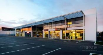 Mixed-use commercial development in Christchurch with retail, offices, large café courtyard