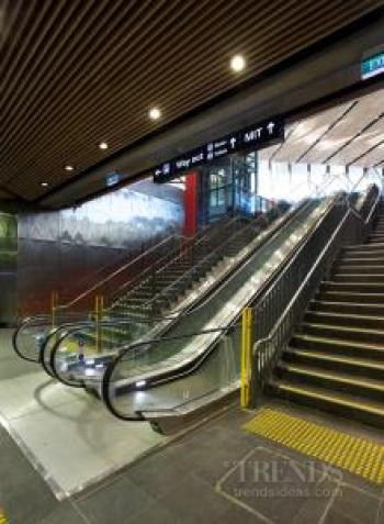 Lifts and escalators at tertiary campus and transport hub. Lifts are monitored remotely