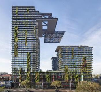 Vertical gardens and cantilevered heliostat reflectors large-scale mixed-use development in Sydney