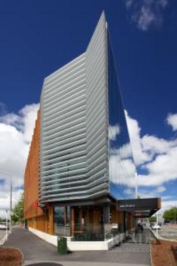 Contemporary commercial building in Christchurch with Corten steel fins