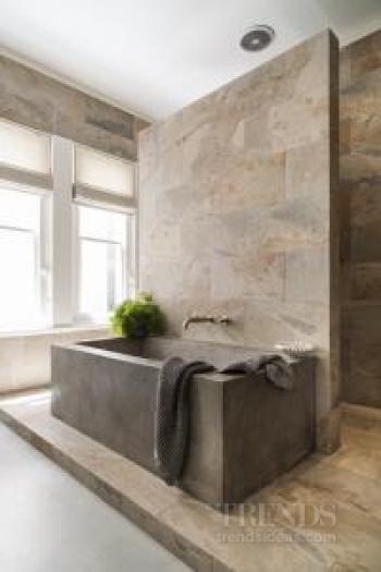 Contemporary Bathroom Design With Verde Slate Stone, Concrete Tub And  Concrete Vanity Units
