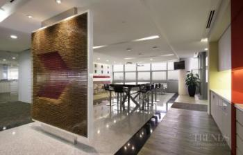 CIMB headquarters in KL offers a grand atrium, templated workspaces and colourful wayfinders