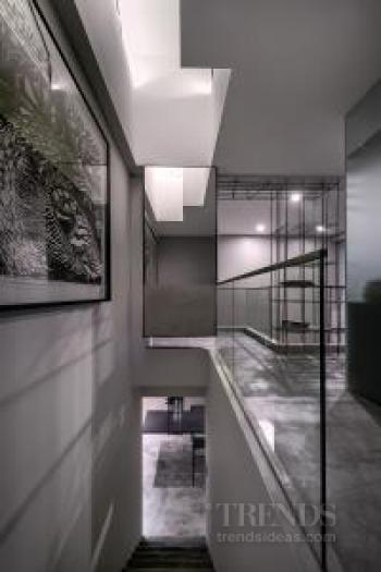 Contemporary condominium with steel rod sculpture by designer Pan Yi Cheng