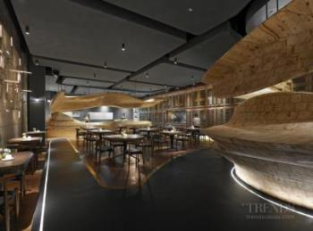 New restaurant features sculptural carved wood counter and seating, suspended ceilings