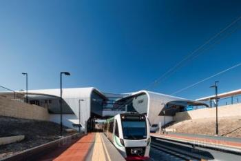 Contemporary new train station, transport hub in Perth with large entry canopy