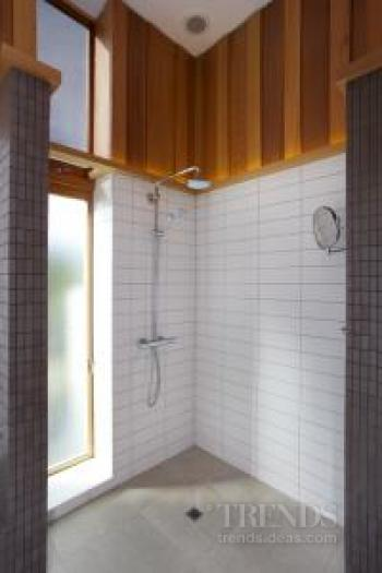 Bathroom renovation in older bungalow features shiplap cedar, grey mosaics and white tiles. Image: 3