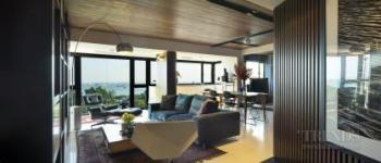 Renovated 1970s apartment with Mid-century Modern furniture, teak and walnut veneer