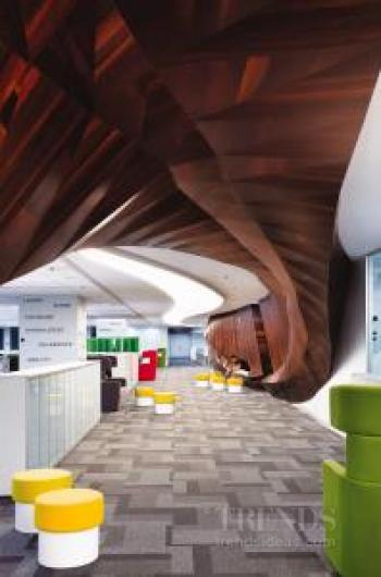 This multiple-level office has a central, unifying wood spine