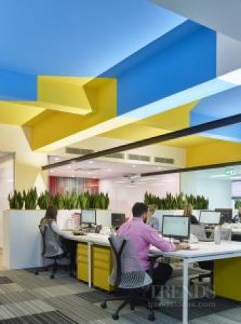 Office-fitout with feature ceiling pattern and Resene colours