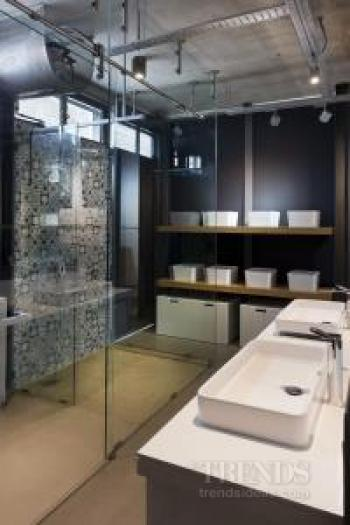 Contemporary bathroom that's all in the open