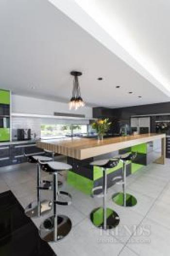Lime green and charcoal cabinetry creates a crisp look in this modern kitchen