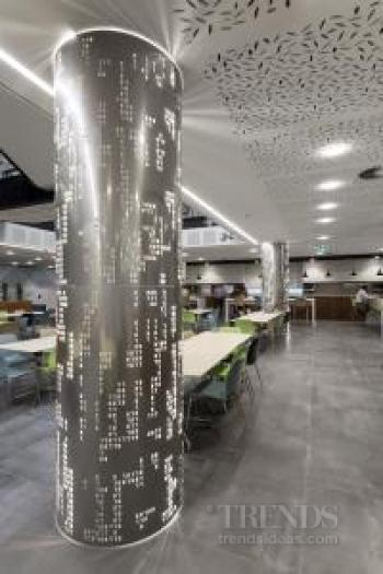 Natural tones and a sense of team community were key in the Datacom offices interior fit-out