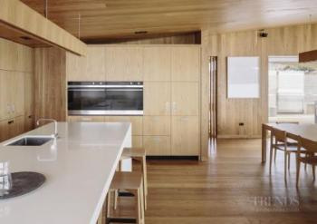 Holiday home kitchen has a light, natural Scandinavian ambience