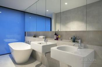 Translucent glass walls give privacy and add diffused light to this master bathroom