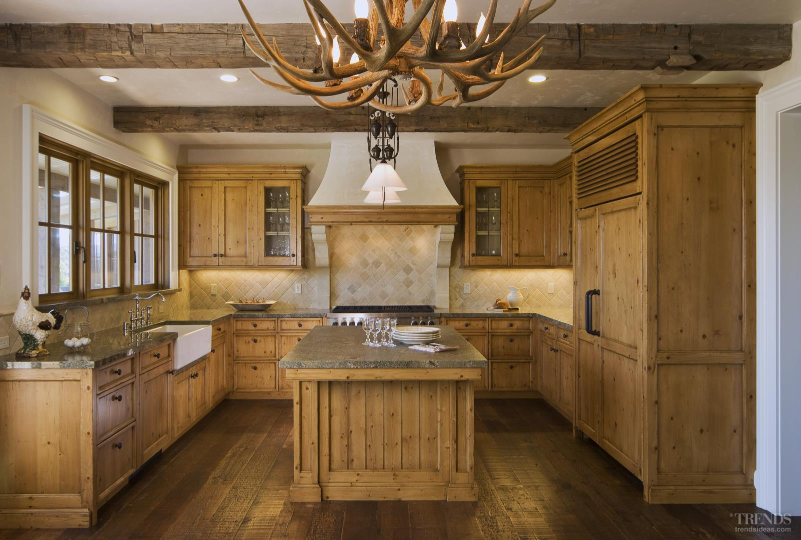 country character kitchen with white hemlock cabinets exposed
