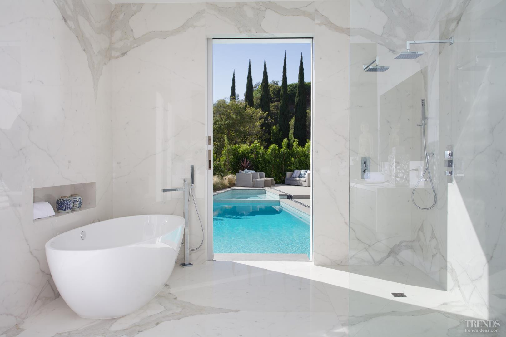 Remodeled Bathroom With Calacatta Marble Walls Pocket