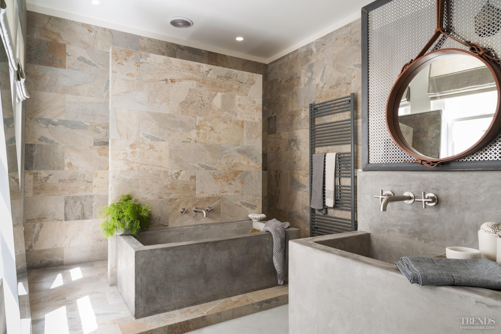 Contemporary bathroom design with verde slate stone for Bathroom storage ideas new zealand