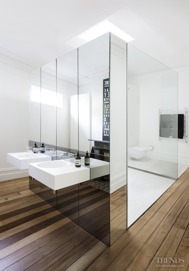 Contemporary bathroom insertion in heritage space by Architect Prineas