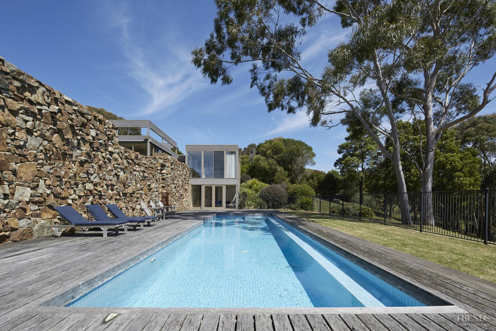 Modern Rural Home With Weathered Cedar Exterior Large Drystone Wall Swimming Pool