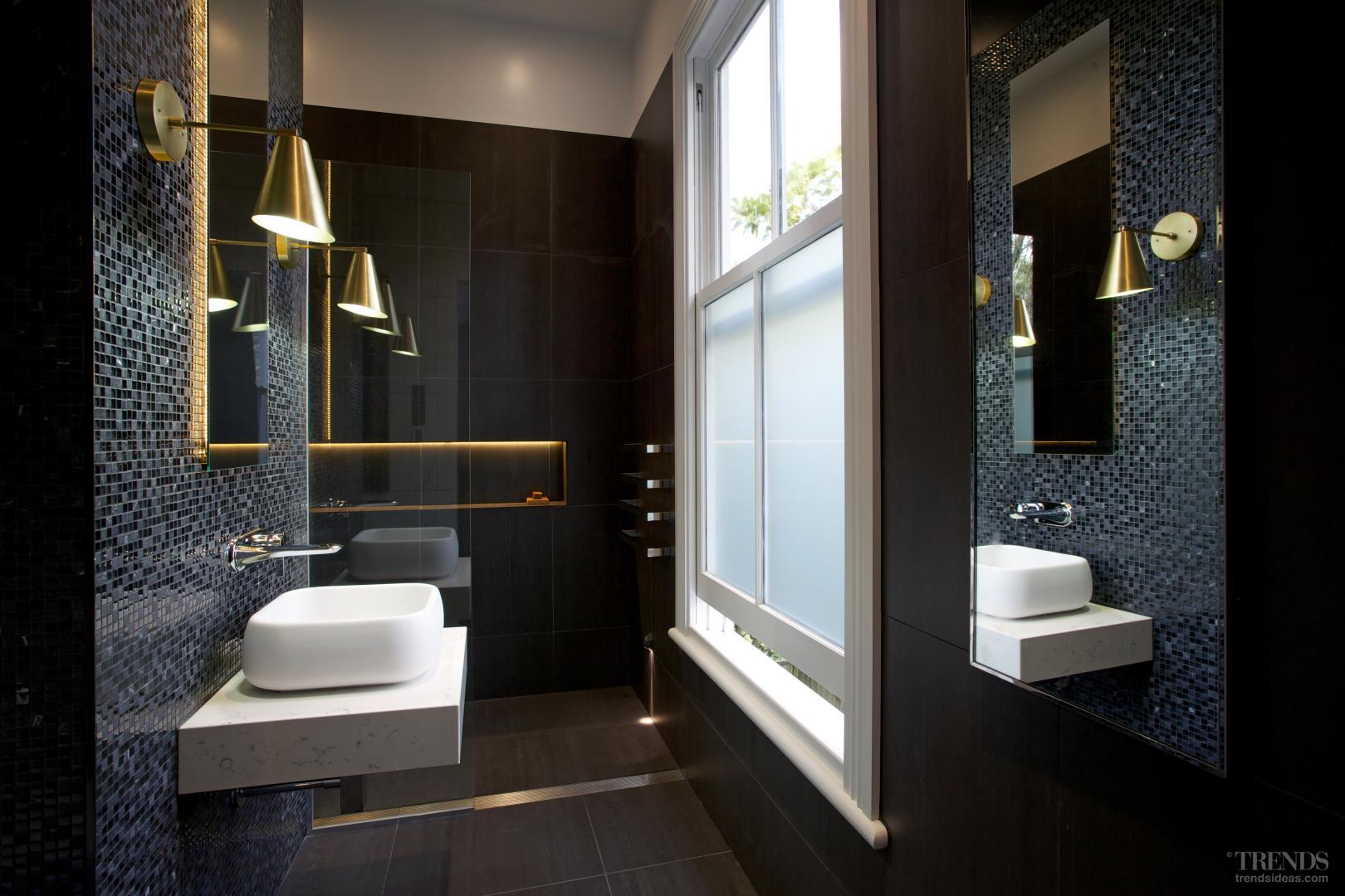 Bathroom Remodel With Black And White Theme Mosaics And Hidden Lighting