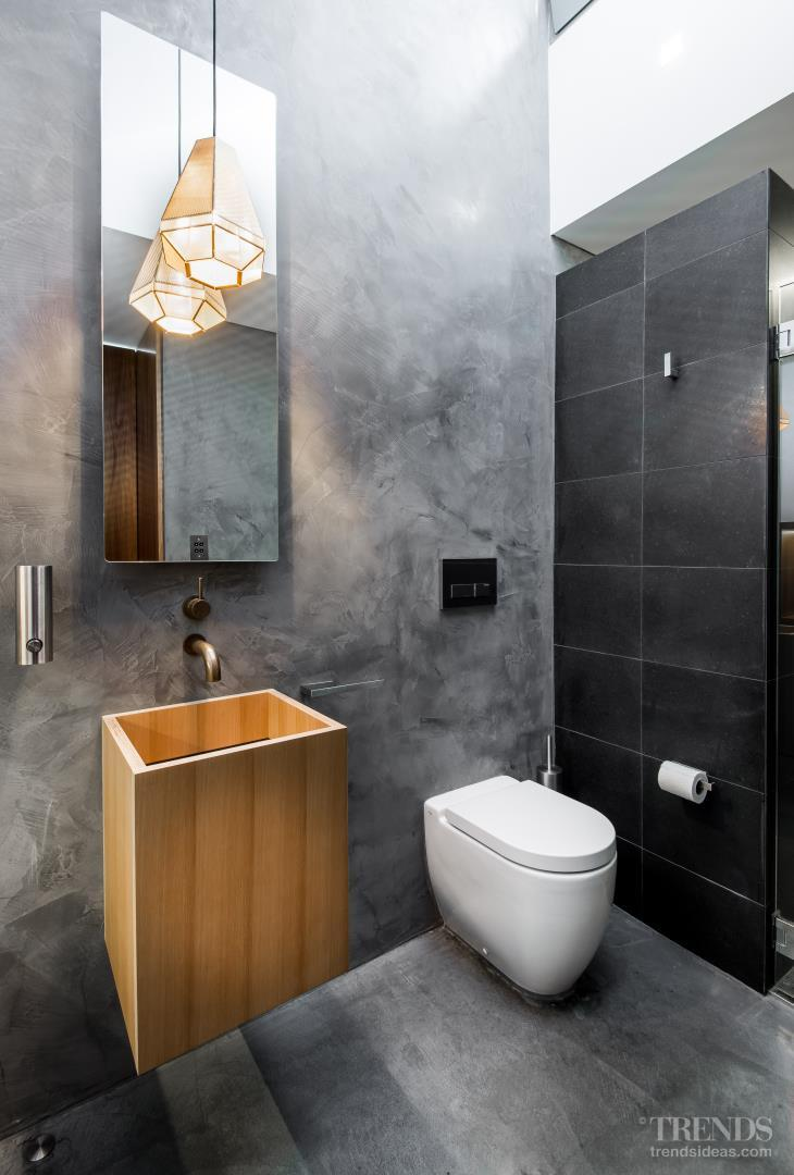 Hidden bathroom with smooth concrete walls and plaster walls for Bathroom ideas new zealand