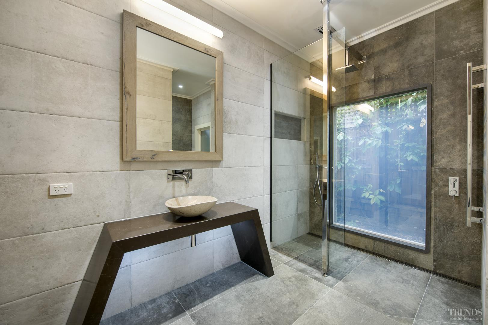 Modern Bathroom With Switch Glass Minimalist Vanity And