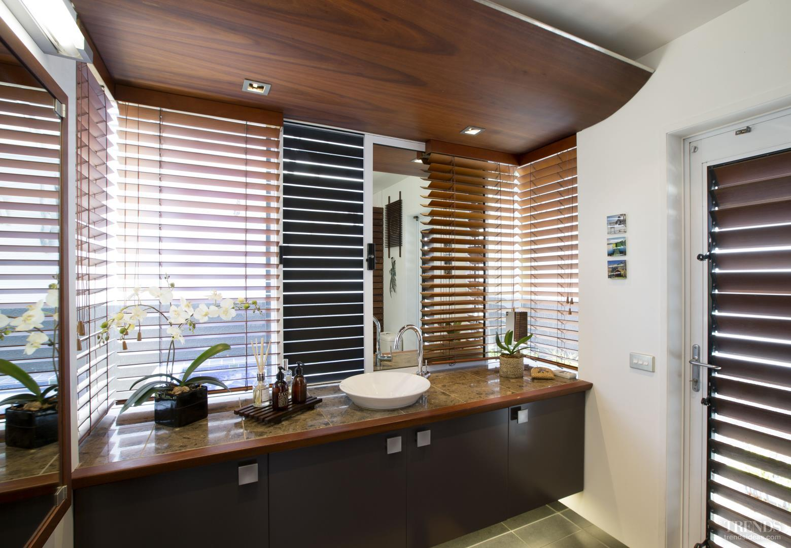 Tropical-look bathroom renovation with wood accents