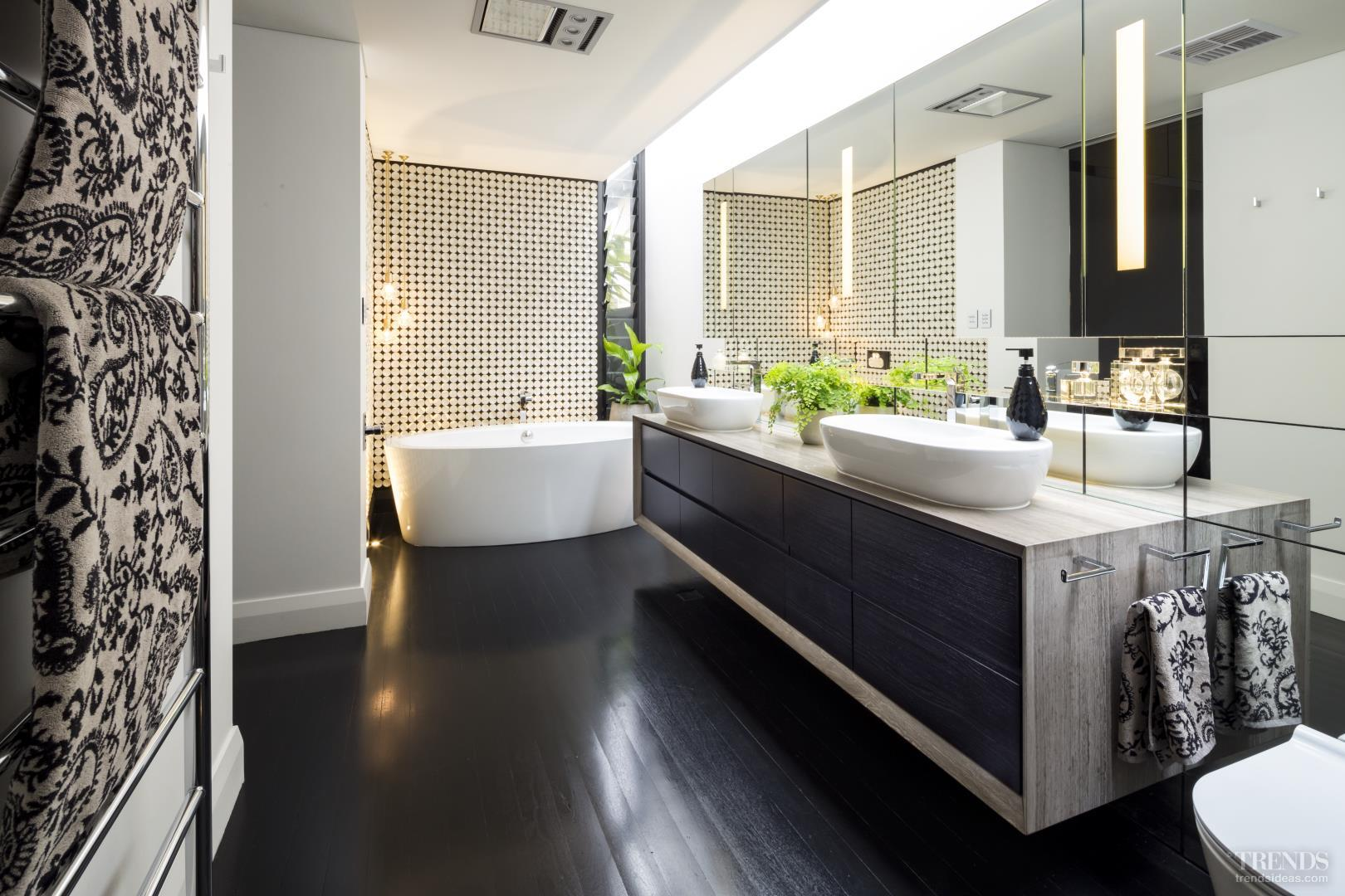 Luxury bathroom addition with japanese wall tiles and for Designer bathroom flooring