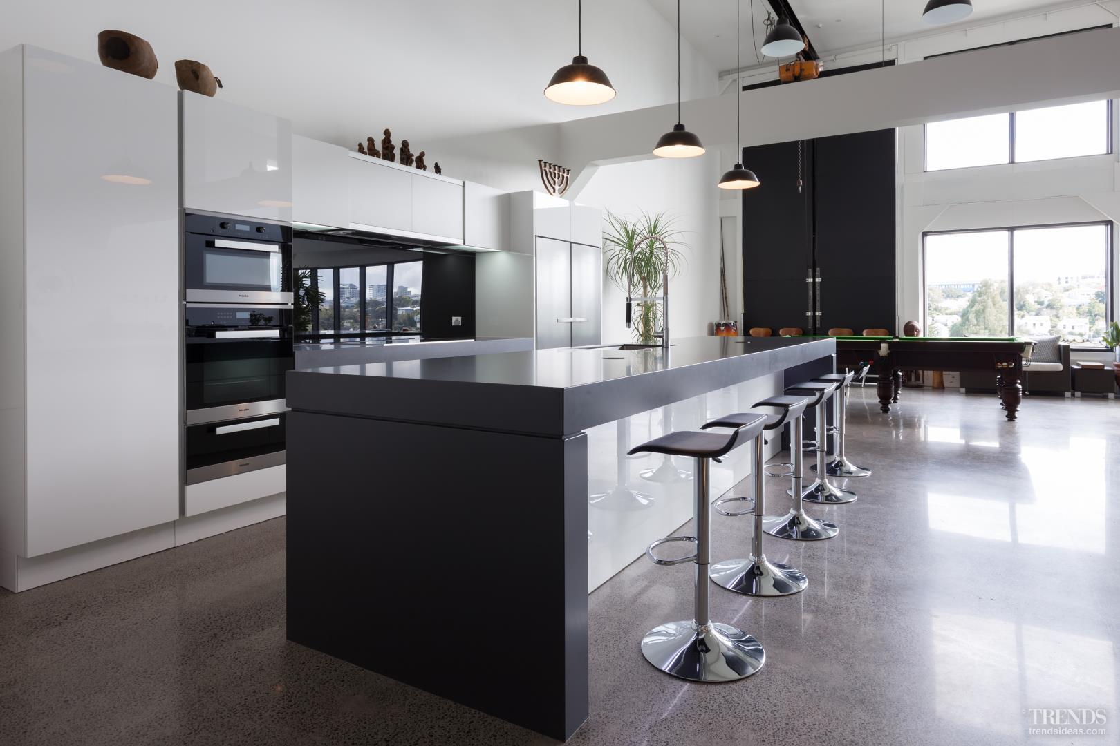 Black And White Kitchen Brings Modern Touch To Warehouse