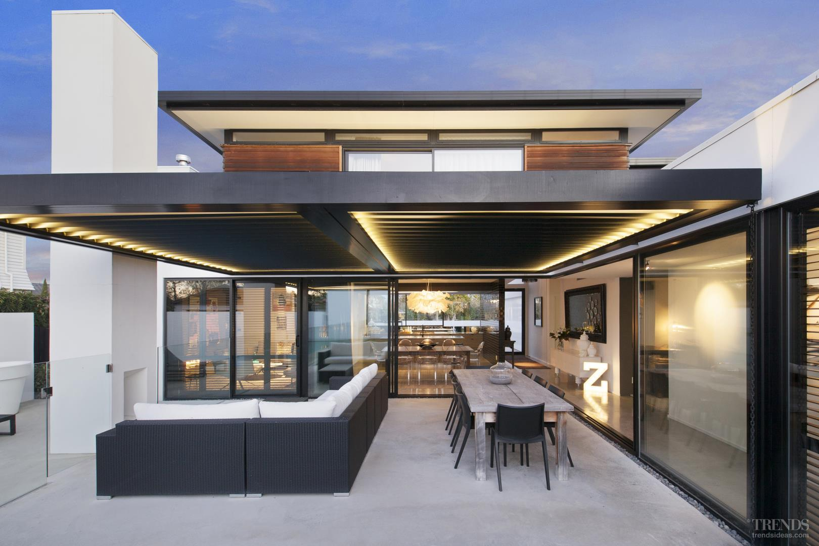 contemporary home in clean lined geometric forms has great