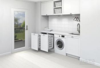Invisible helper – Hideaway bins for the laundry