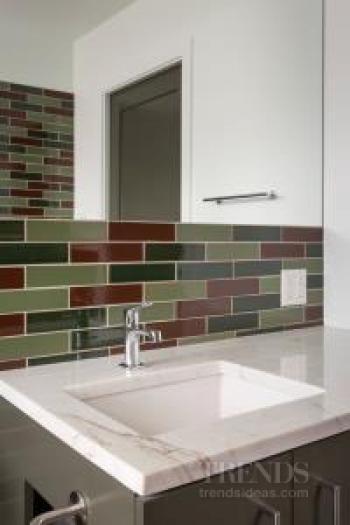 Small bathroom transformed with handmade tiles