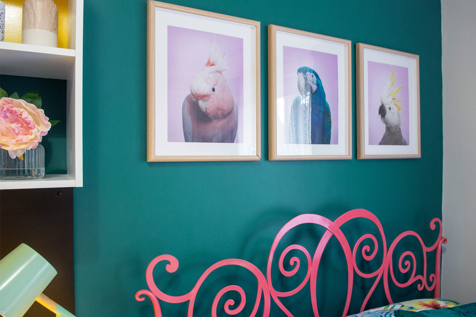 Cherie-Barber_Renovating-For-Profit_Tween-Bedroom_framed-birds-Taubmans-paint