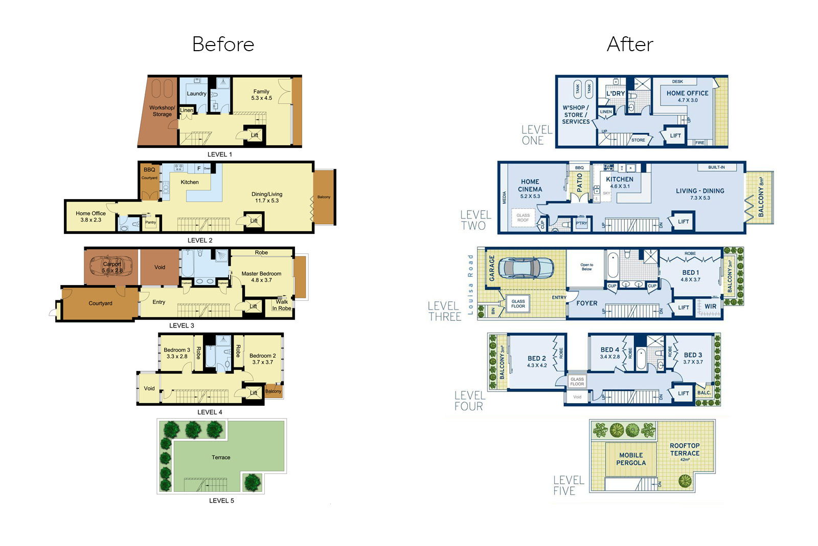 Cherie-Barber_Renovating-For-Profit_Louisa-Rd_floorplan-before-after