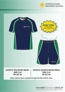 New IGS sports tops and shorts