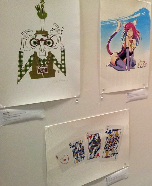 Jo Martin, 'Twitching', Rowan Dodds, 'Catgirl' and 'Playing Cards'.