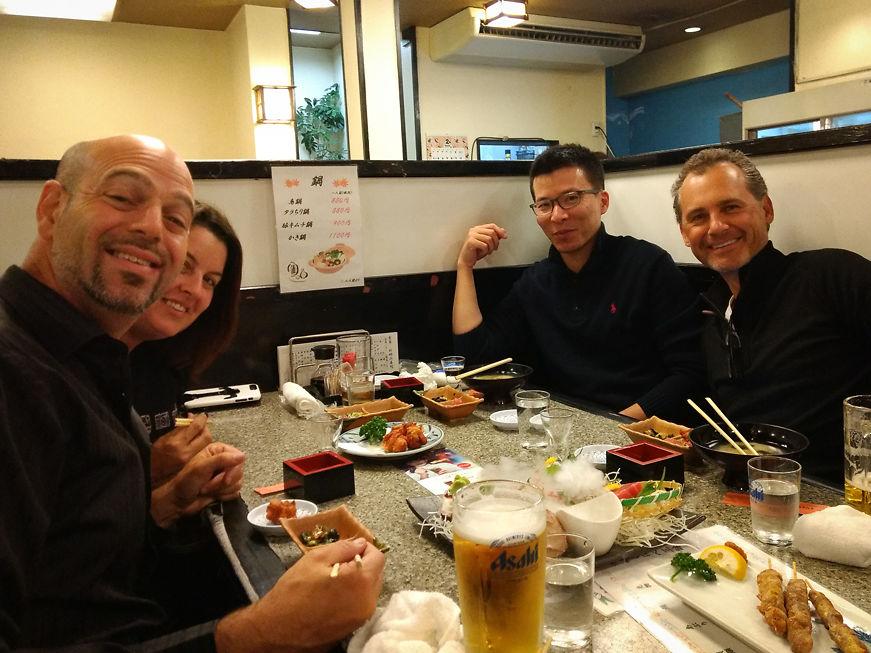 First Meal in Japan! (L-R Saul, Alex, Shawn, Dan)