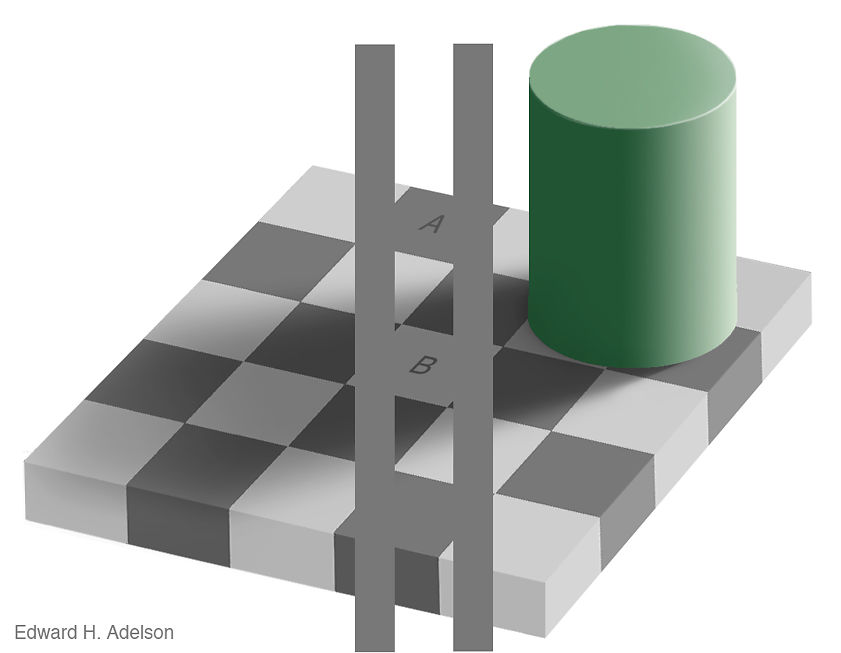 The original image plus two vertical stripes of the same shade of gray to make the colour equivalence more clear