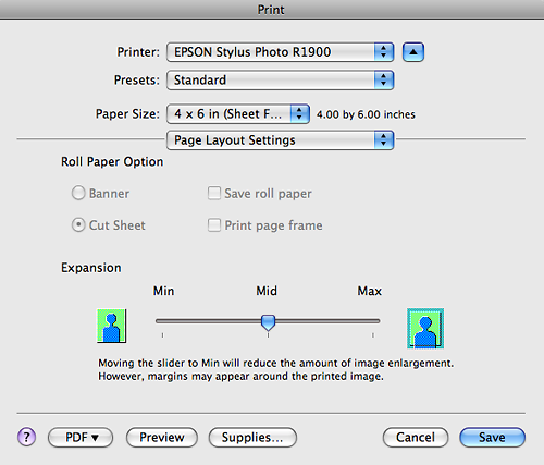 Epson controls for image expansion when using borderless...