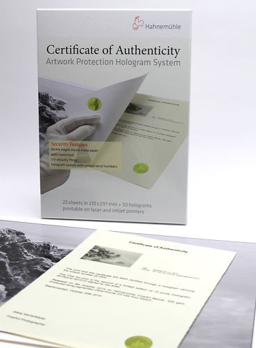 Hahnemühle Authenticity Certificates Master Image