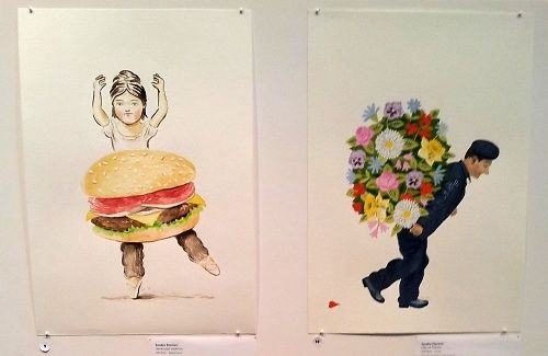 Sandra Eterovic, 'Hamburger Ballerina' and 'Man of Flowers'.