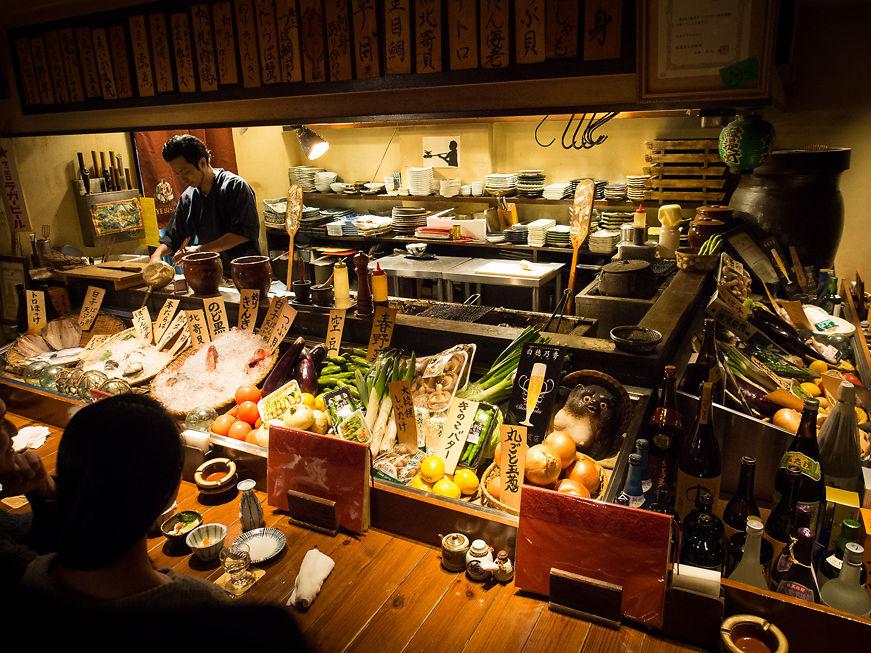 Restaurant interior, chef at work, Yokohama