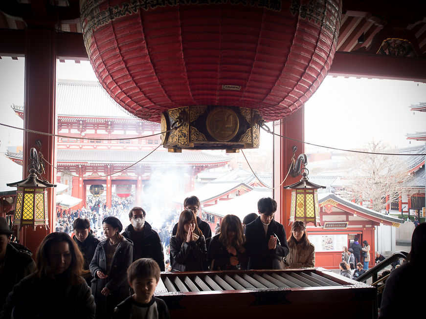 Looking from inside to out, prayers at Sensō-ji