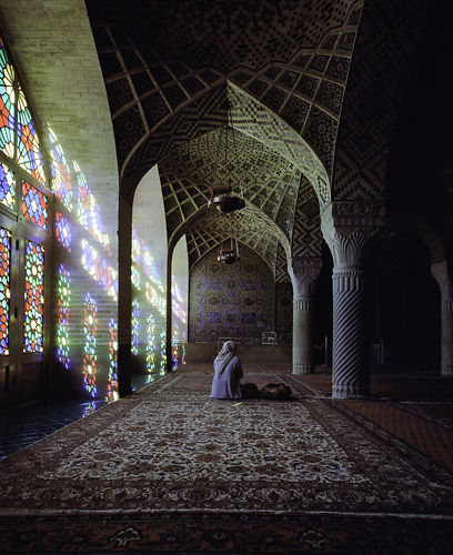 A young woman taking in the aura of the Pink Mosque, Shiraz.